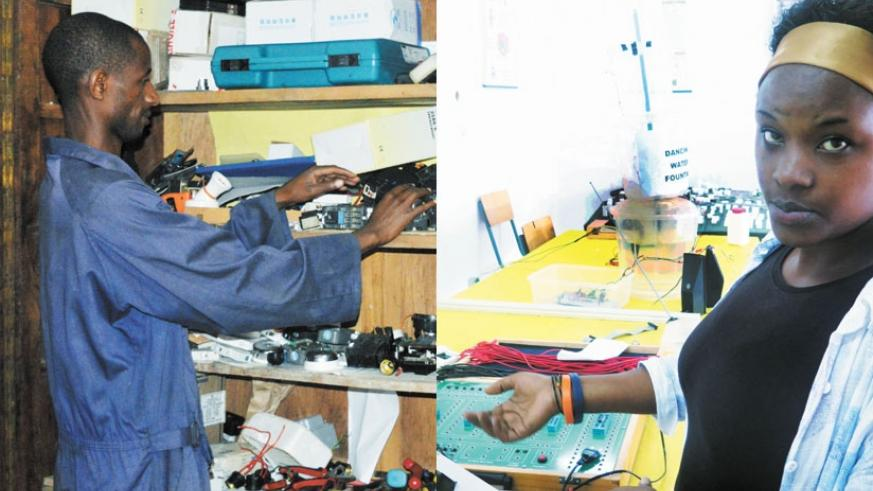 LEFT: A technician shows some of the equipment used in electronic engineering. | RIGHT: A female student demonstrates how she made an electronic voting machine. / Solomon Asaba
