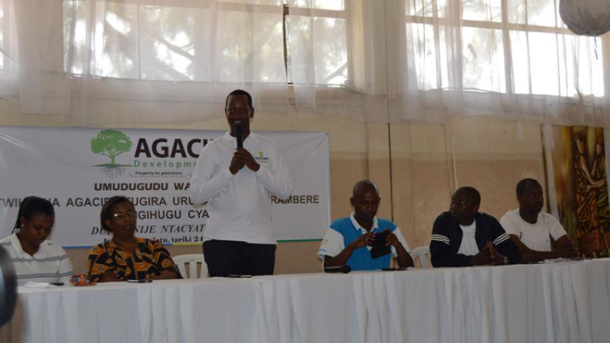 Agaciro Development Fund CEO Jack Kayonga speaks at the event on Saturday. (Emmanuel Ntirenganya.)