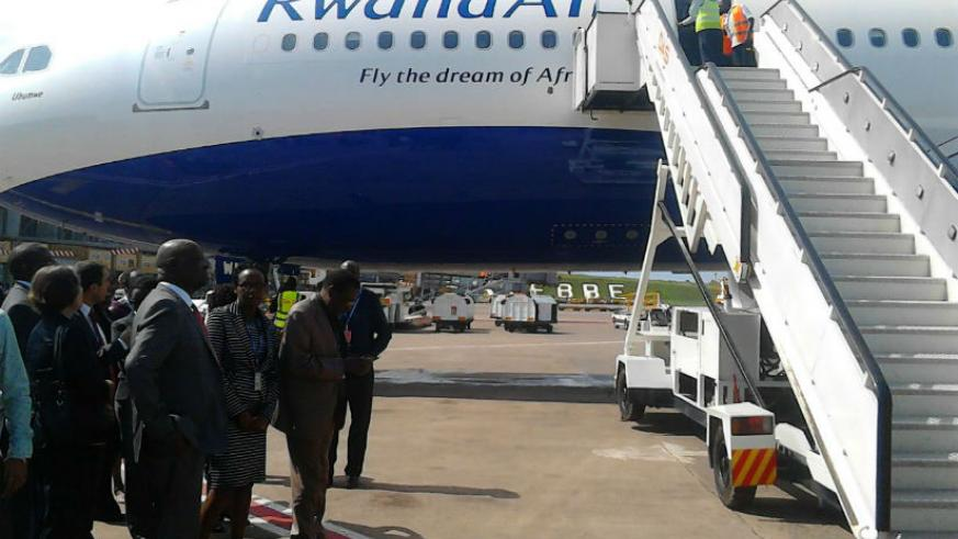 The Airbus A330-200 makes a stopover at Entebbe International Airport, Uganda, where it's welcomed by diplomats and government officials. / Courtesy