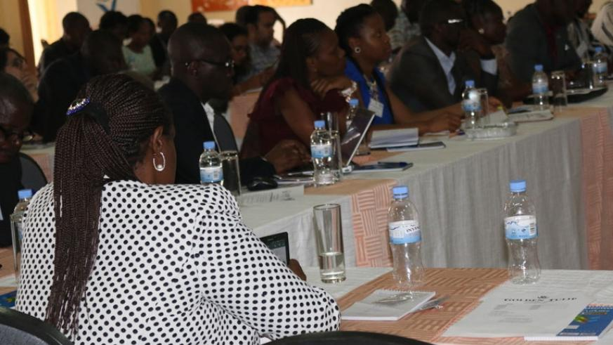 Participants follow proceedings during the meeting at the Golden Tulip Hotel in Bugesera District. (Courtesy)