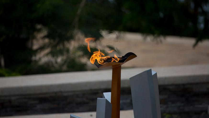 A commemoration flame in memory of victims of the Genocide against the Tutsi at Kigali Genocide Memorial Centre. / Timothy Kisambira