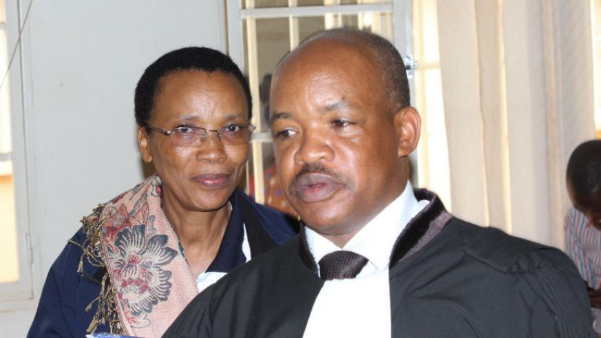 Dr Rose Mukankomeje and her lawyer Tharcisse Udahemuka in a previous court appearance. (File)