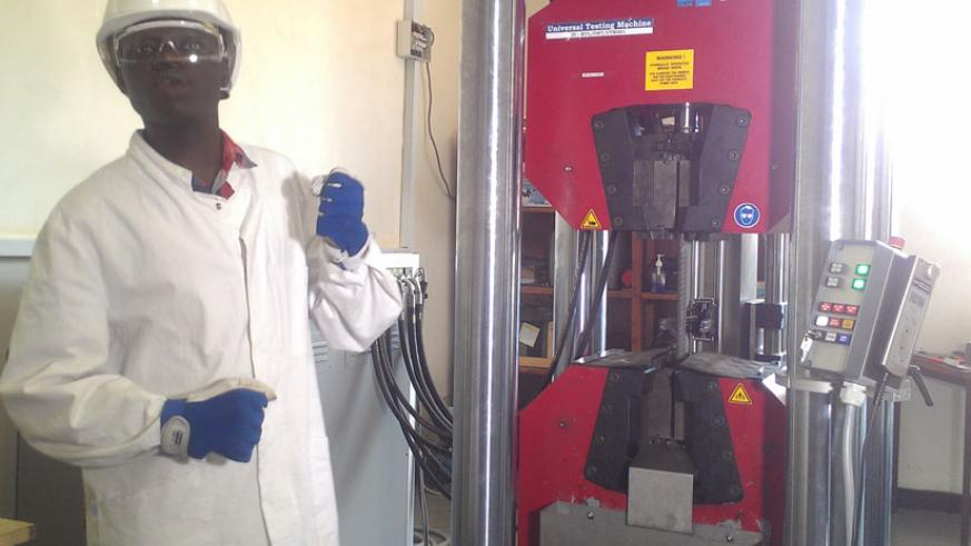 An RSB staff explains how they test the quality of  steel products. / Frederic Byumvuhore