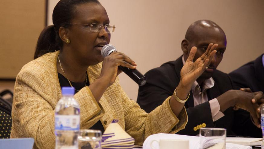 Rugwabiza speaks during meeting last week. / Nadege Imbabazi.