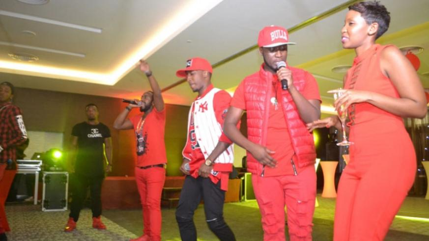 Teta poses with Urban Boyz and other guests during the event on Saturday. / Courtesy