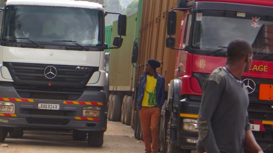 Cargo trucks at the Uganda-Rwanda border at Gatuna. Logistics sector players want review of import duty law. (File photo)