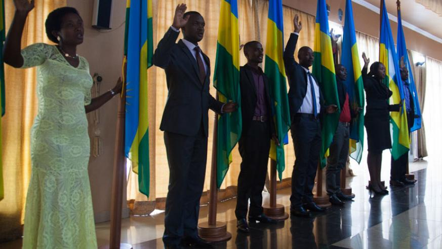 Some of the court bailiffs and notaries from across the country who were sworn in yesterday, in Kigali. / Nadege Imbabazi.