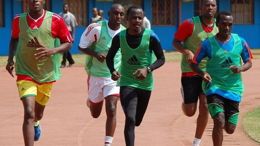 Local referees going through their paces at Amahoro National Stadium on Monday. (Courtesy)