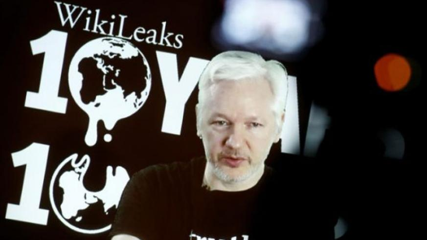 Julian Assange, Founder and Editor-in-Chief of WikiLeaks speaks via video link during a press conference on the occasion of the ten year anniversary celebration of WikiLeaks in Ber....