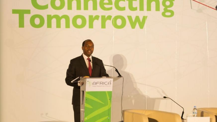 Gatare gives his opening remarks at the conference in Kigali yesterday. (Timothy Kisambira)