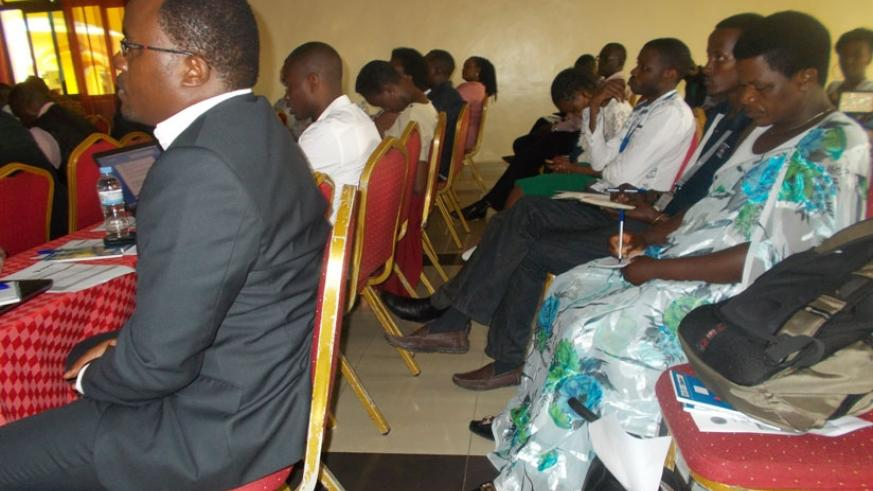 Participants following the presentation on the key roles of Agrodealers in inputs markets on wednesday.( Elias Hakizimana)