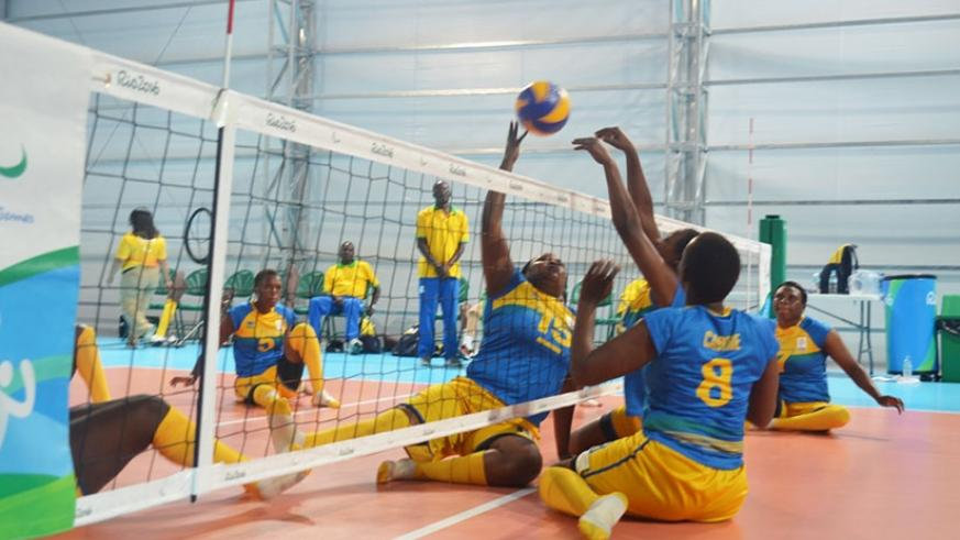 Rwanda national women sitting volleyball team prepare to face Canada in the 7-8th place classification match at the 2016 Rio Paralympic Games. / Courtesy.