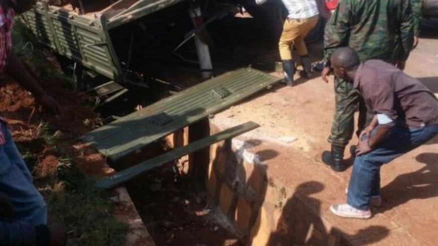 The army truck that got involved in an accident in Kicukiro District. / Courtesy