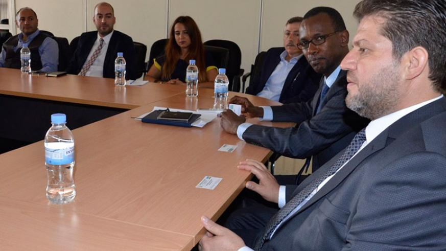 Kayisinga (second right) during the meeting with Turkish investors in Kigali. / Peterson Tumwebaze