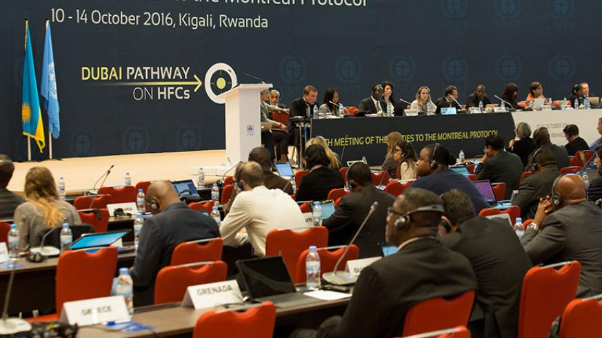Participants follow proceedings during the meeting on Montreal Protocol in Kigali yesterday. As ministers converge in Kigali for Montreal Protocol meeting at which talks they will ....
