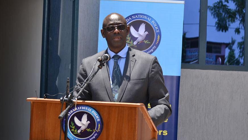 Minister Busingye speaks during the inauguration of the new police headquarters in Rwamagana, yesterday. / Courtesy
