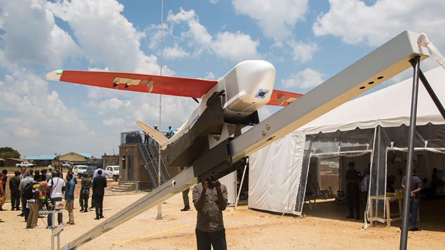 A drone on a ramp at Muhanga droneport ready to take off. / Faustin Niyigena.