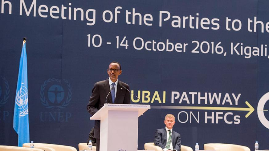 President Kagame addresses the Meeting of the Parties to the Montreal Protocol at Kigali Convention Centre yesterday. The President said that the earliest possible phase-down of hy....