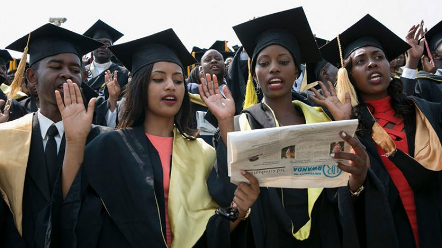 University of Rwanda graduates. BRD is grappling with recovery of student loans. / File