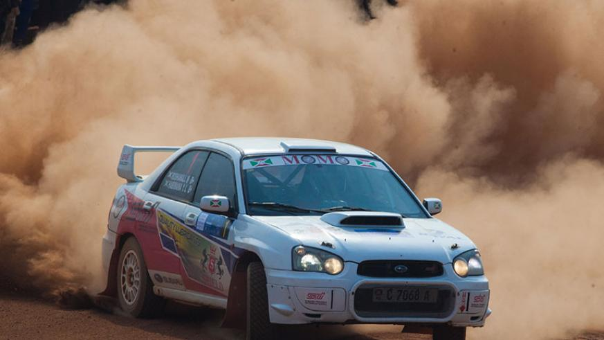 Reigning national champion Roshanali and his navigator Jean-Jean Giesen in their Subaru Impreza, lead the NRC standing with 90 points. / Nadege Imbabazi