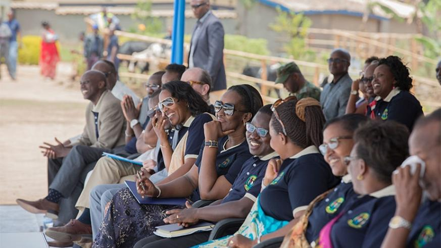 First Lady Jeannette Kagame and government officials at the launch of the campaign to empower famillies in Nyaruguru District yesterday. (Village Urugwiro)