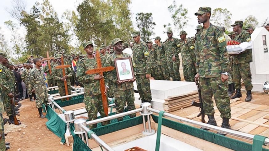 Burial of the RDF accident victims at Kanombe Military Cemetery last week. / Courtesy.