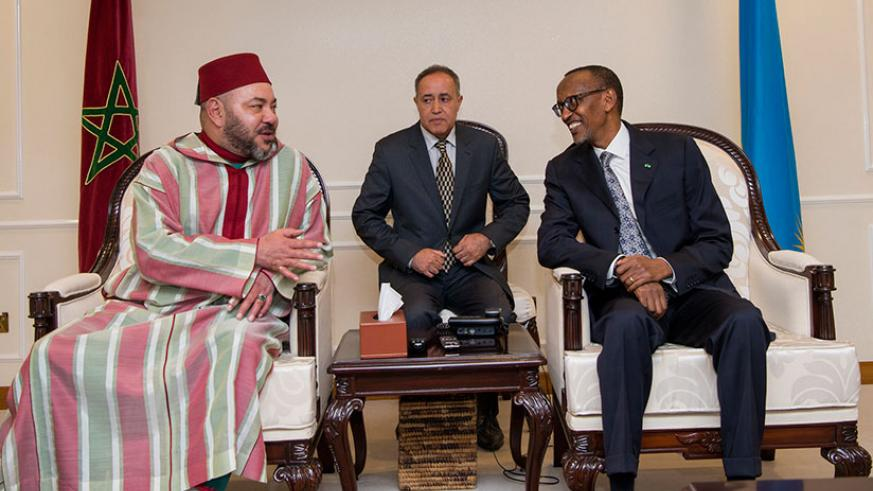 President Kagame receives King Mohamed VI of Morocco who is in Rwanda for a state visit aimed at strengthening bilateral relations between the two nations. / Village Urugwiro
