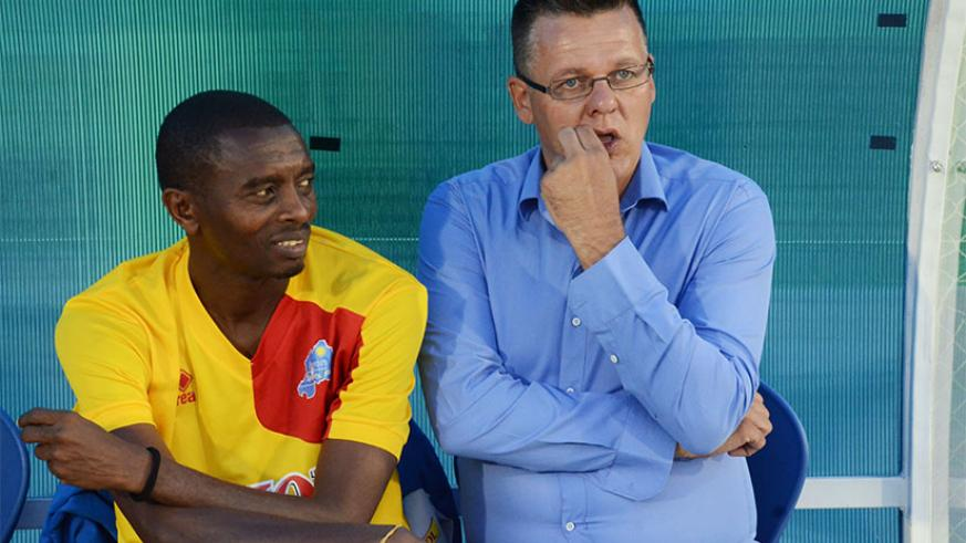 Ivan Minnaert seen here with Djuma Masudi, the now head coach of Rayon Sports, is in talks with his former employers over a new role. / Sam Ngendahimana