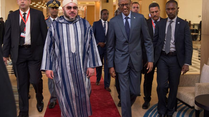 President Paul Kagame and Moroccan King Mohammed VI on arrival at Marriott Hotel in Kigali where they witnessed the signing of several agreements between the two countries mainly ....