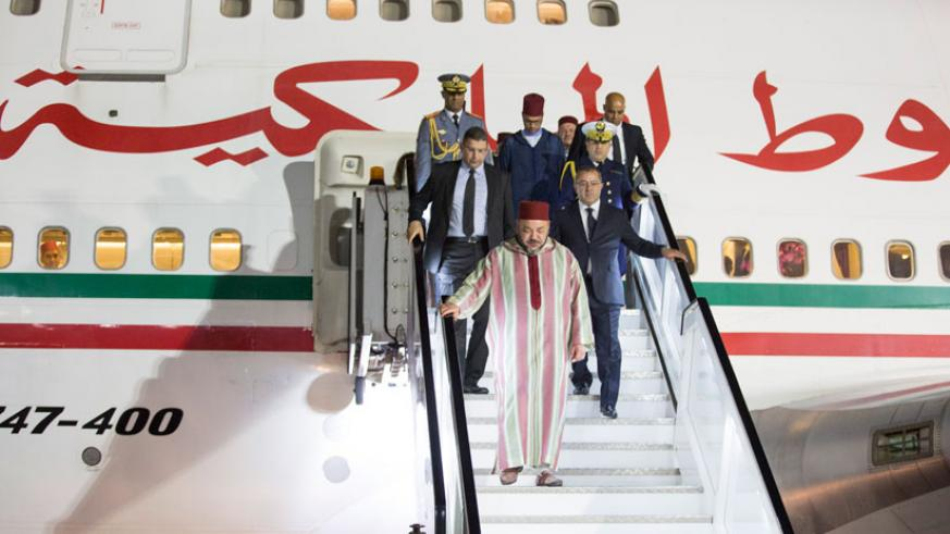 King Mohammed VI arrives at Kigali International Airport on Tuesday evening.