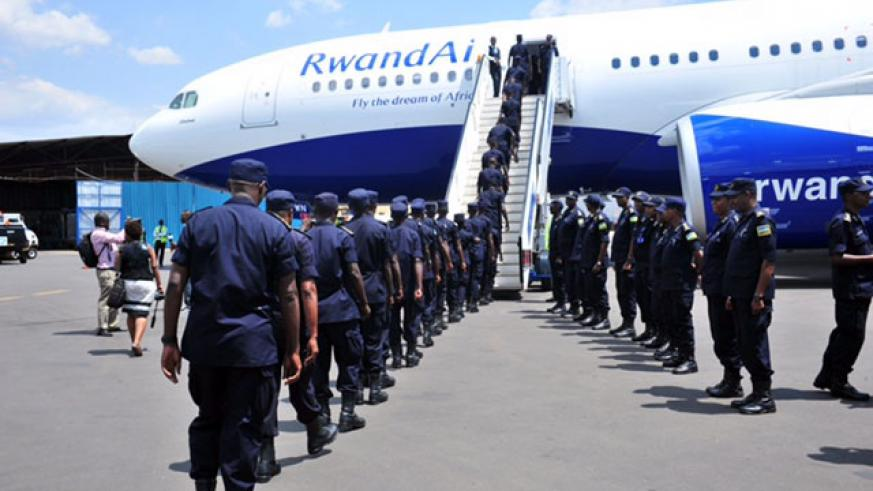 Police officers depart for the peacekeeping mission in CAR, yesterday. / Courtesy