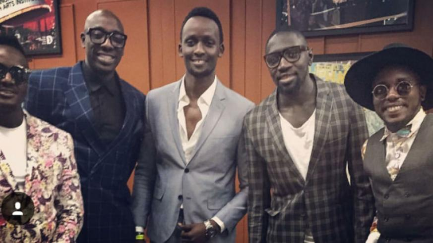 Sauti Sol and Meddy (3rd from left) at the AFRIMM 2016 awards in Dallas, Texas. / Courtesy