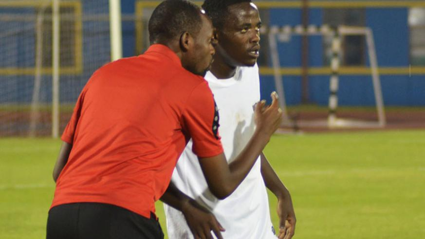 APR coach Yves Rwasamanzi gives instructions during a league game recently. APR take on Gicumbi today. / Sam Ngendahimana