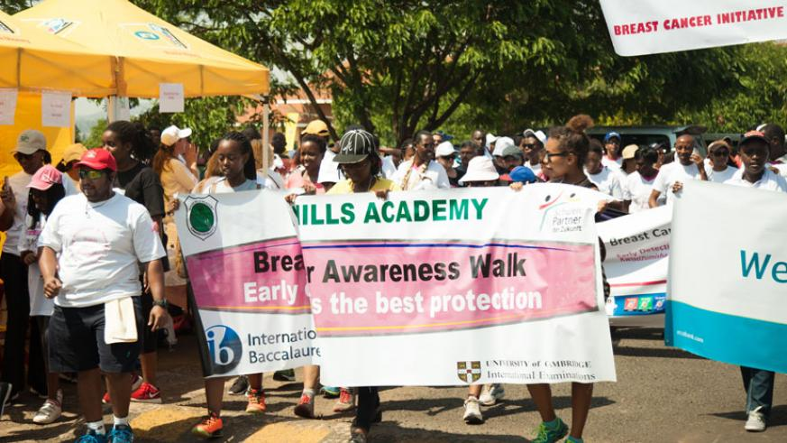 Students from Green Hills Academy during yesterday's Ulinzi walk to raise breast cancer awareness. / Nadege Imbabazi