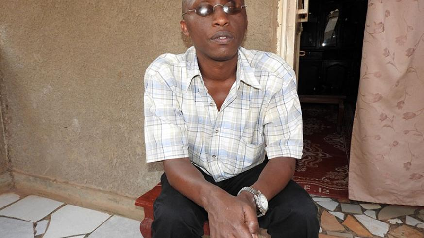 Peter Nyankiko at his residence in Kimironko. He became blind at the age of 8. / Lydia Atieno.