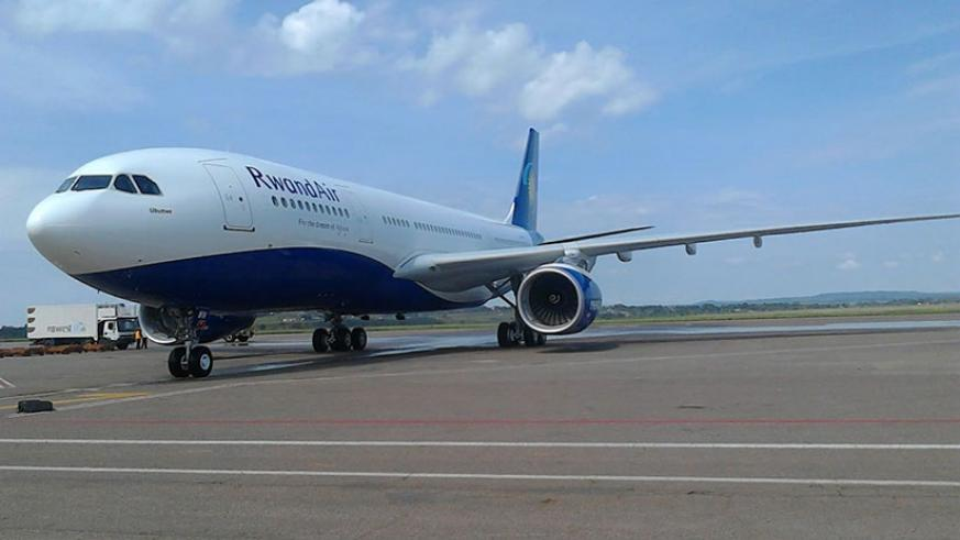 The airline's new A330-200 Airbus plane on its maiden landing at Kigali International Airport last month. The national carrier targets to fly to London's Gatwick Airport in 2017. /....