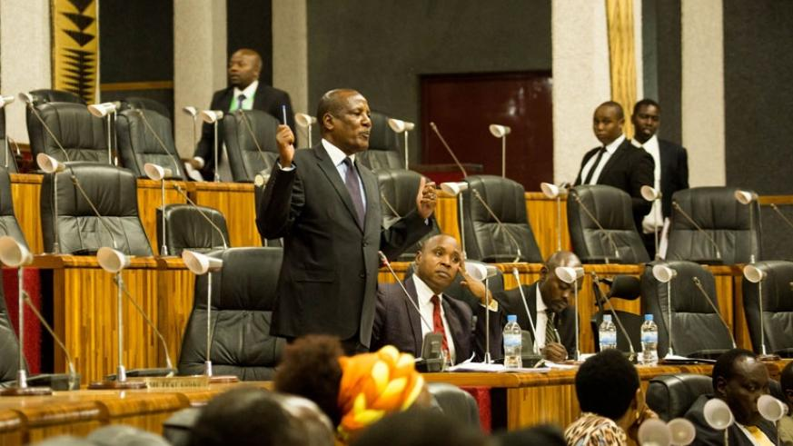 MP Ogle speaks during a previous session in Kigali. (T. Kisambira.)