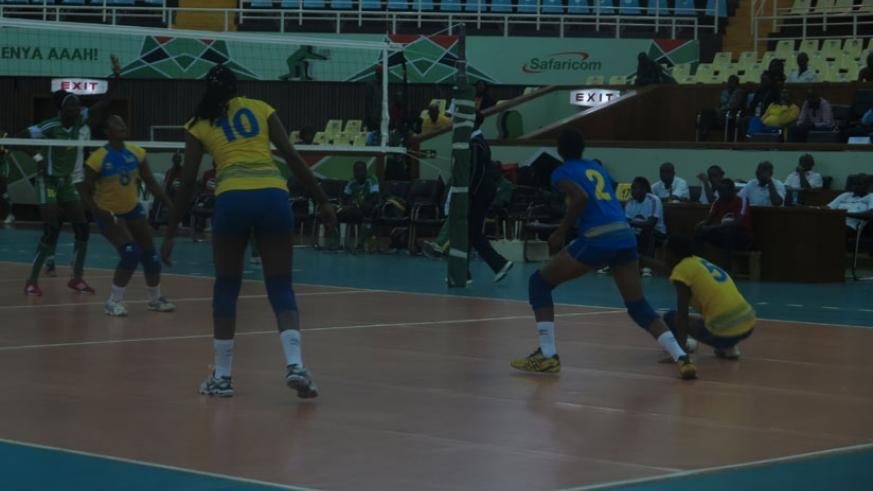 Rwanda's U23 women volleyball team in action against Senegal in Nairobi on Sunday. They beat the West Africans 3-1 to ensure a dream start to the continental showpiece. (Peter Kamasa.)