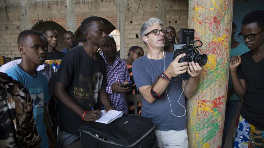 Swedish actor and filmmaker Martin Widerberg, with a camera, takes participants through the training programme at Kwetu Film Institute in Kigali. (Photos by Jean Baptiste Habineza)