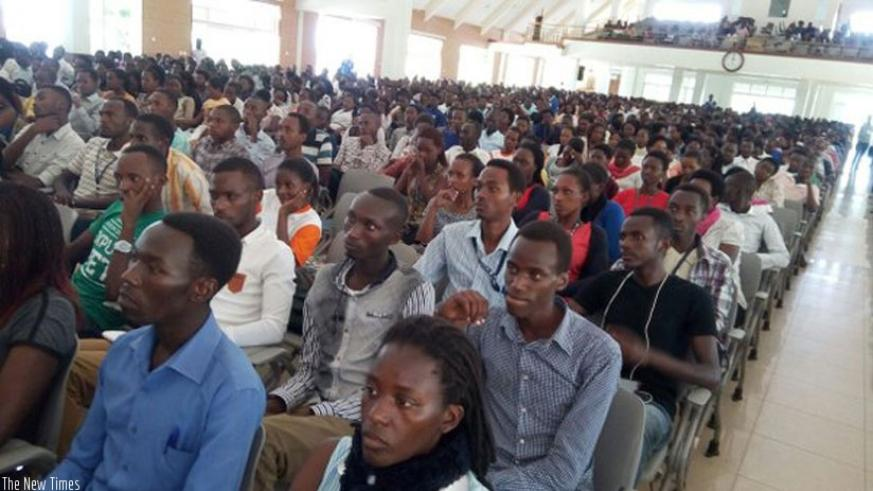 Students of Adventist University of Central Africa follow presentations during the launch of the varsity's Pan-African Movement Chapter on Tuesday. (Courtesy)