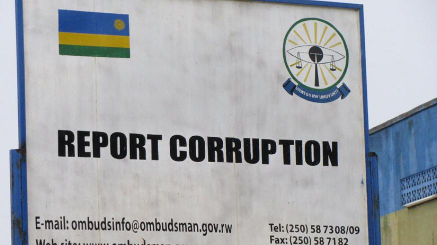 A signage encouraging citizens to report any form of corruption in Kigali. (File)
