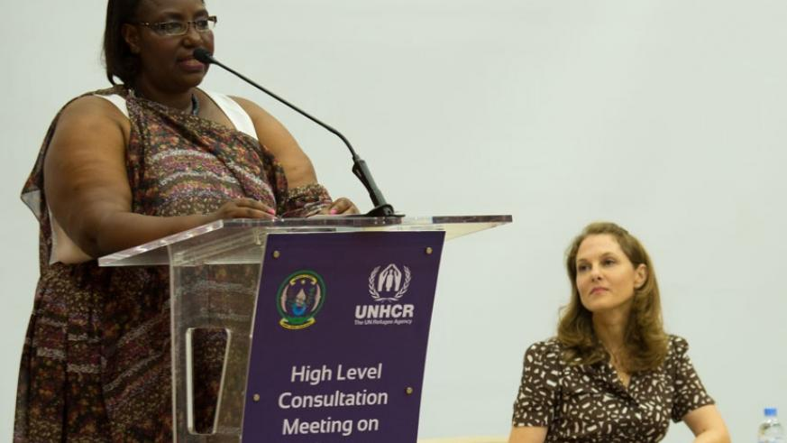 Disaster Management and Refugee Affairs minister Saraphine Mukantabana (L) speaks during the meeting as Princess Sarah Zeid of Jordan looks on. (Photos by Timothy Kisambira)
