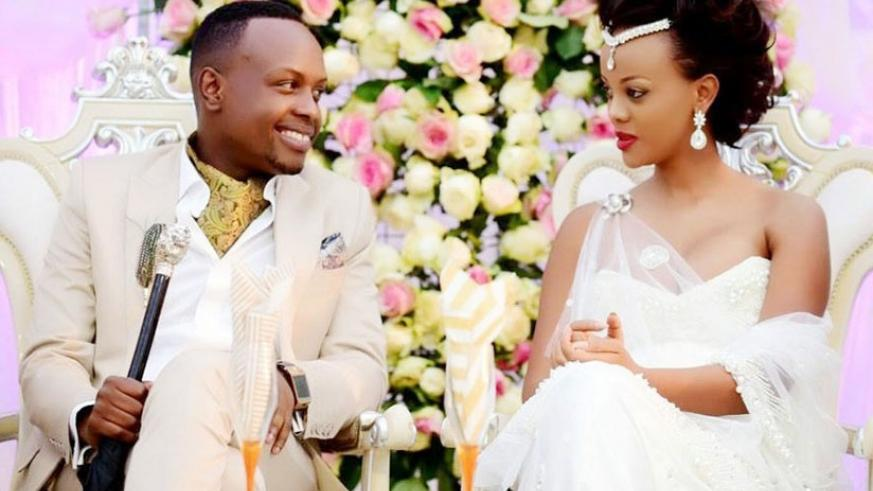 Singer Knowless Butera and Clement Ishimwe during their wedding reception. (Net photo)