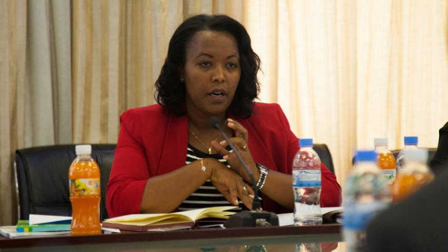 Minister Nyirasafari speaks during the meeting with the legislators at Parliament. (Nadege Imbabazi.)