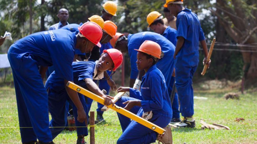 Technical and Vocational Education and Training students prepare a building foundation at IPRC-Kigali during their examinations. The Government has designed a tailor-made plan to e....