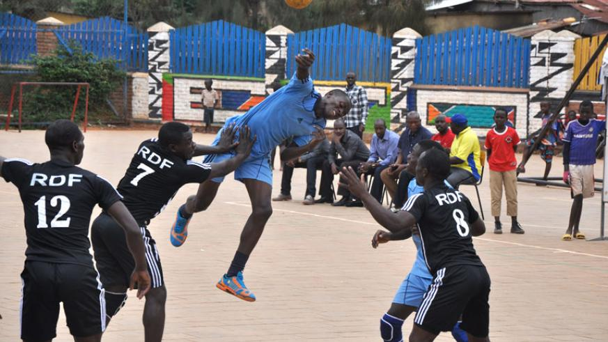 Gilbert Mtuyimana goes for a shoot during a league game against APR at Kimisagara ground. / Courtesy