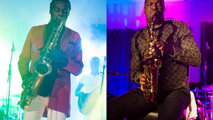LEFT: Herbert Rock performs during the Kigali Jazz Junction on Friday. RIGHT: Isaiah Katumwa on the sax. / All photos by Nadege Imbabazi