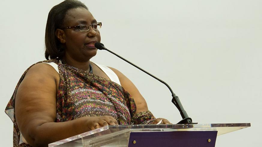 Minister for Disaster Management and Refugee Affairs (MIDIMAR) Seraphine Mukantabana speaks during a recent meeting in Kigali. / File
