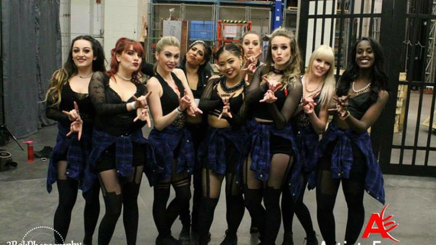 Macha (R) with her all girls hip hop choregraphy group in Canada. / Courtesy photos.