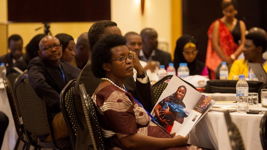 Participants follow proceedings during the meeting in Kigali, yesterday. (Faustin Niyigena.)